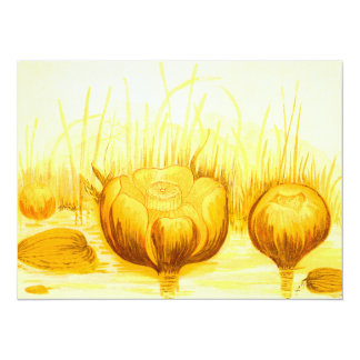 Ejemplo del vintage de los lirios de charca invitación 13,9 x 19,0 cm