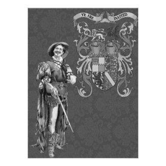Ejemplo del vintage del ~ del espadachín del renac anuncio personalizado