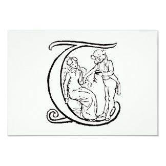 Ejemplo del vintage del monograma T de la letra Invitación 8,9 X 12,7 Cm