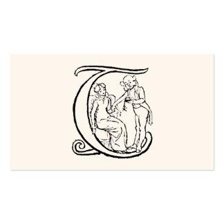 Ejemplo del vintage del monograma T de la letra Tarjetas De Visita
