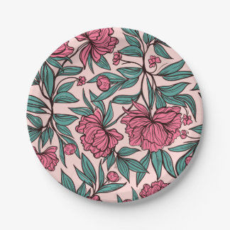 Ejemplo dibujado mano floral del rosa del naranja plato de papel