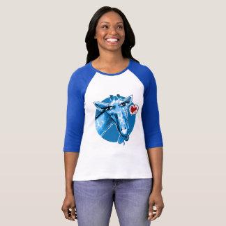 ejemplo divertido de la jirafa del estilo precioso camiseta