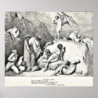 Ejemplo divino del grabado de la comedia de Dante Póster