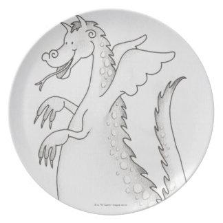 Ejemplo, dragón con alas sonriente con bifurcado platos de comidas