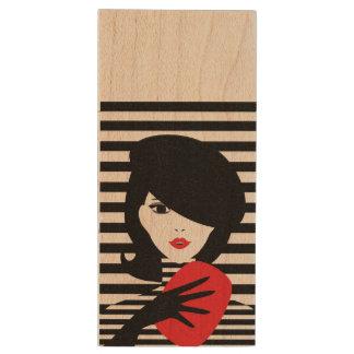 Ejemplo elegante francés de la moda de la moda memoria USB de madera