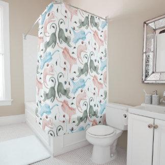 Ejemplo en colores pastel de las acuarelas del cortina de baño