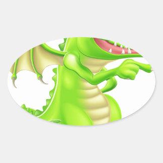 Ejemplo estilizado del dragón pegatina de óval