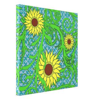 Ejemplo floral de los girasoles coloridos impresión de lienzo
