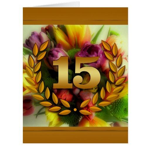 ejemplo floral del aniversario de 15 años tarjetas
