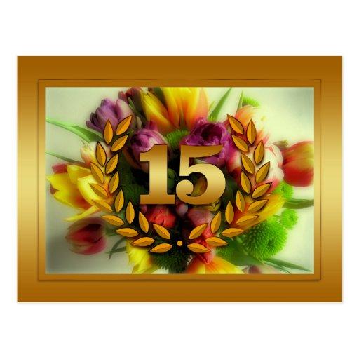 ejemplo floral del aniversario de 15 años tarjeta postal