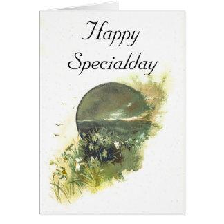 Ejemplo florido del paisaje de la montaña del tarjeta de felicitación
