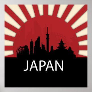 Ejemplo fresco de la silueta de Japón Póster