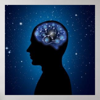 Ejemplo fresco del cerebro humano póster