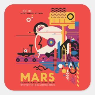 Ejemplo futurista retro del turismo de Marte Pegatina Cuadrada