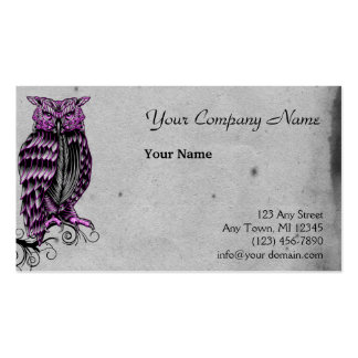 Ejemplo gótico púrpura del búho tarjetas de visita