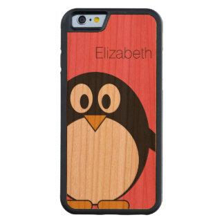 Ejemplo lindo del pingüino del dibujo animado con funda protectora de cerezo para iPhone 6 de carved