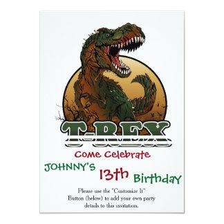 ejemplo marrón y verde del t-rex impresionante invitación 12,7 x 17,8 cm