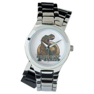 ejemplo marrón y verde del t-rex impresionante reloj de mano