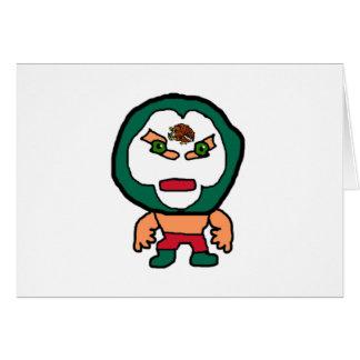 Ejemplo mexicano del dibujo animado del luchador tarjeta de felicitación