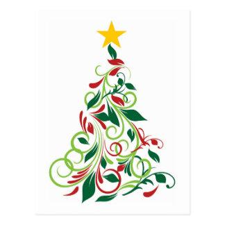 Ejemplo moderno elegante del árbol de navidad postal