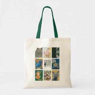 Ejemplo múltiple de nueve artistas de los gatos bolsa tela barata