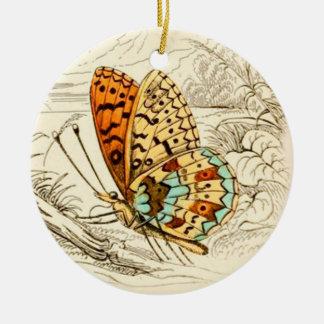 Ejemplo, naranja y beige de la mariposa del adorno de cerámica
