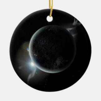 ejemplo negro del planeta 3d en el universo adorno de cerámica