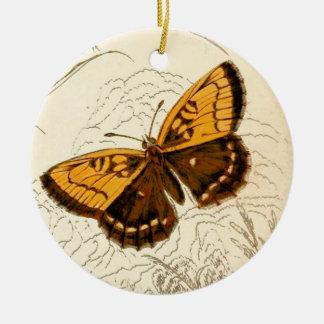 Ejemplo, oro y Brown de la mariposa del vintage Adorno De Cerámica