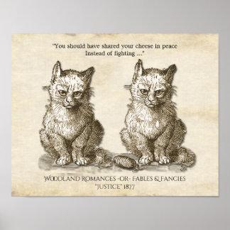 Ejemplo peleón 1877 de los gatos del vintage póster