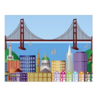 Ejemplo Po del dibujo del horizonte de la ciudad Postal