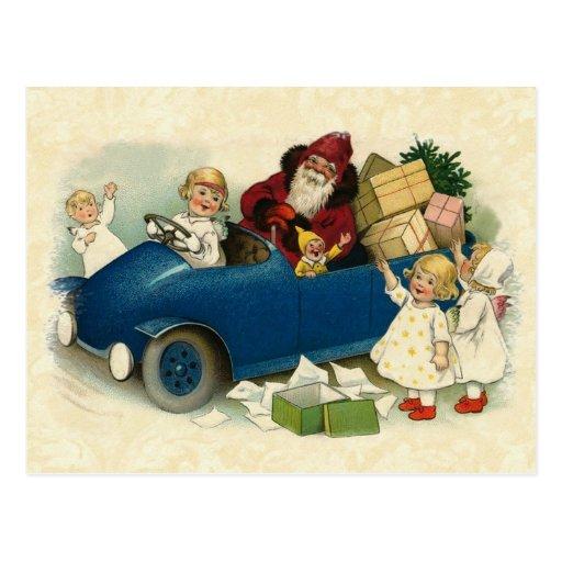 Ejemplo Santa, coche antiguo, niños del vintage Tarjeta Postal