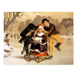 Ejemplo Sledding y patinador del vintage Postal