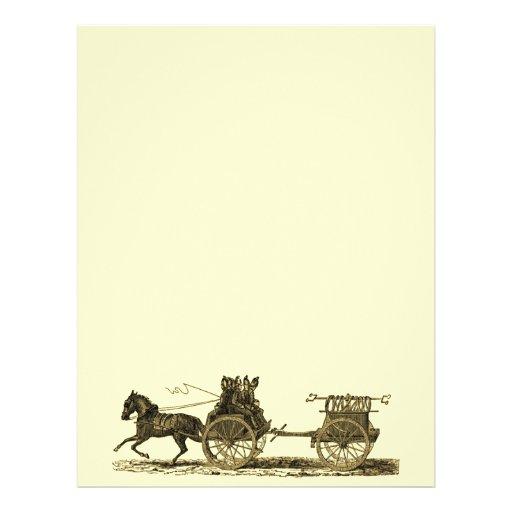 Ejemplo traído por caballo del coche de bomberos d tarjetón
