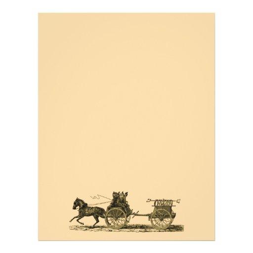 Ejemplo traído por caballo del coche de bomberos d tarjetas informativas