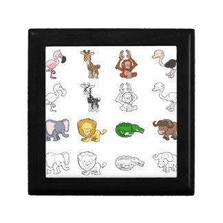 Ejemplos del animal del safari del dibujo animado caja de recuerdo