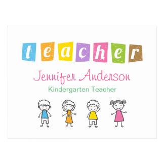 Ejemplos lindos del lápiz del profesor preescolar postal