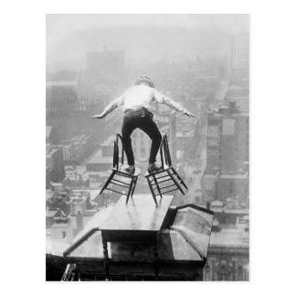 Ejercicio de equilibrio del tejado, 1910 postal