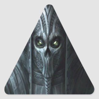 Ejército azteca del zombi del horror abstracto pegatina triangular