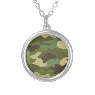 Ejército Camo Collar Plateado