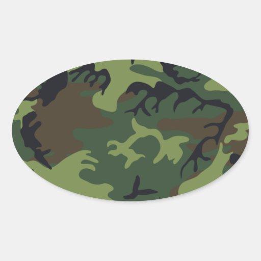 Ejército Camo Calcomanías Ovaladas