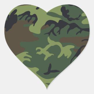 Ejército Camo Pegatina En Forma De Corazón