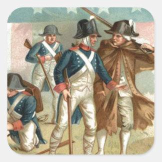 Ejército continental del escudo de la bandera de pegatinas cuadradas