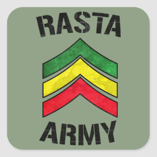 Ejército de Rasta Colcomanias Cuadradas Personalizadas