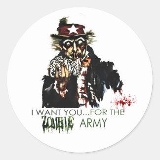 ejército del zombi pegatina redonda