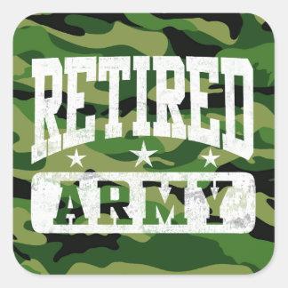 Ejército jubilado pegatinas cuadradas