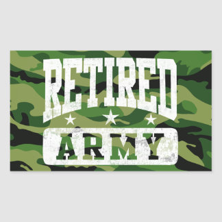 Ejército jubilado pegatina rectangular