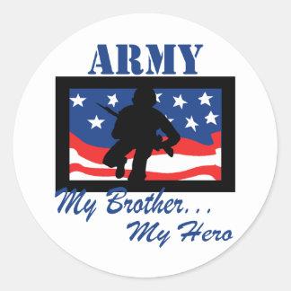 Ejército mi Brother mi héroe Etiqueta Redonda