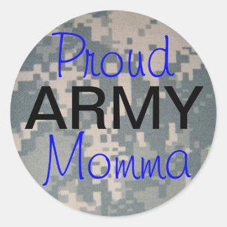 Ejército orgulloso Momma Pegatina Redonda