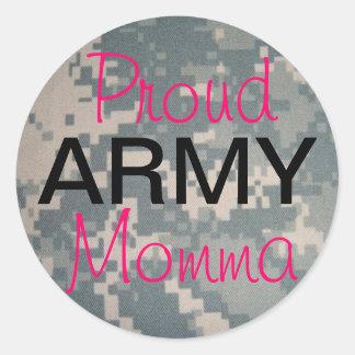 Ejército orgulloso Momma Etiqueta Redonda