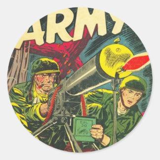 Ejército que lucha pegatina redonda